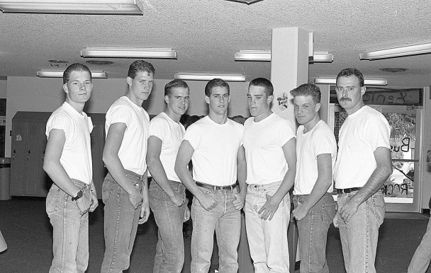 file photo It was an invasion of the 1950s as Rocky Mountain celebrated Homecoming in 1995. These Rocky rebels are Jesse Estes, Kevin Hatch, Kevin Campbell, Brandon May, Joe Hatch, Casey Crosby and teacher Tim Winland. See more in excerpt from 25 years ago.